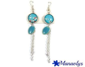Long earrings sakura flowers, sequins, silver chains 3243
