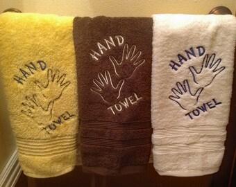 Hand towel embroidered, bathroom hand towel, funny hand towel, guest towel, hand towel with hand on it, kids hand towel