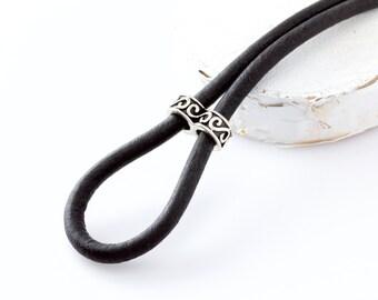 Women's Leather Lanyard, Tibetan Silver Black Eyeglass Loop, Leather Glasses Holder, Eyeglass Loop, Eyeglass Chain, For Her, Gifts for Women