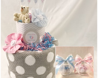 Gender Reveal Diaper Cake Centerpiece/ Gender Reveal Party Centerpiece with Keepsake Ornament