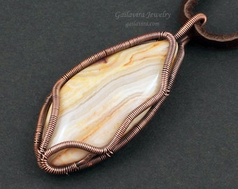 Australian Crazy Lace Agate Wrapped in Copper Pendant Necklace - CLEARANCE