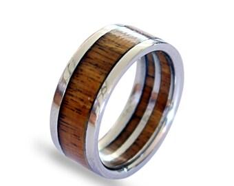 Titanium men ring with pockwood inlay