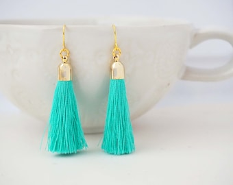 Aqua Mint and Gold Tassel Earrings