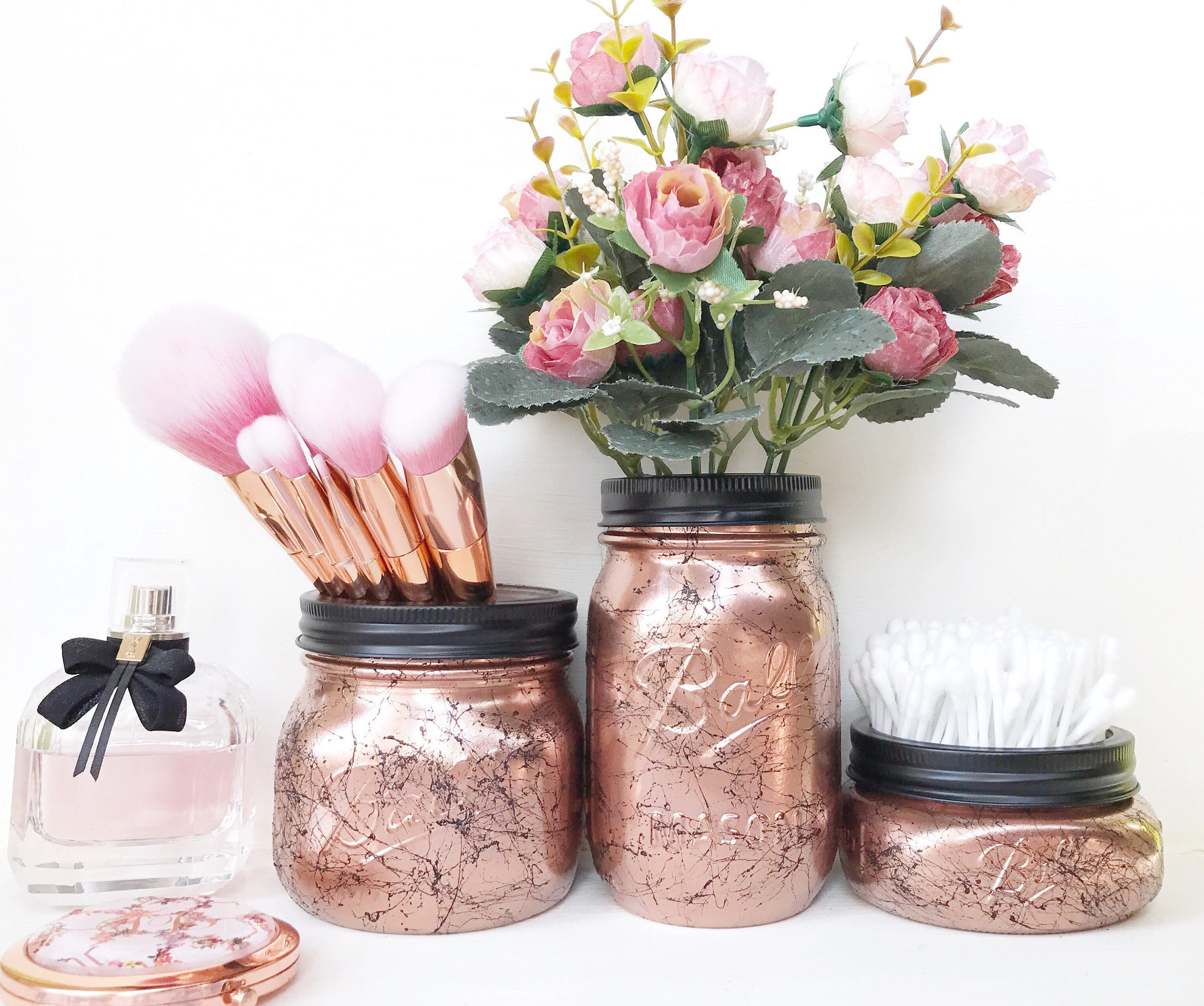 Copper Mason Jar Rose Gold Dressing Table Marble