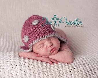 Baby girl earflap hat dark rose pink light grey polka dot hand knit newborn photo prop pure wool choose your colors