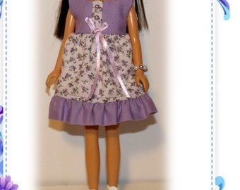 """Grandma's Heirloom Collection """"Lavender Love"""" Dress, Hair Ribbons & Bracelet.  Handmade from a Vintage Skipper Clothes Pattern."""