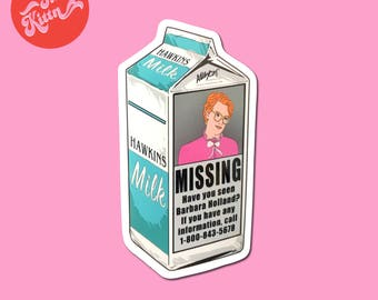 Barb Milk Carton Sticker Stranger Things
