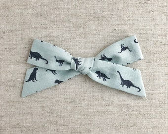 Steel Blue March of the Dinos - Large Schoolgirl Bow - hair clip