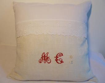 Shabby French antique linen and embroidery Cushion cover
