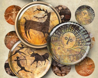 1 inch (25mm) and 1.5 inch size CAVE ART Digital Collage Sheet Printable round Images for pendants bezels magnets craft projects paper goods