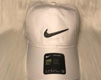 Bling Nike Adjustable Hat - White Made with Black Diamond Swarovski Crystals