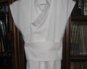 Cosplay white under tunic sleeveless shirt with a sash costume prop