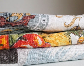 Vintage Tea Towels, Set of 3, Kitchen Towels, Dish Towels, Eco Safe Cleaning and Organization