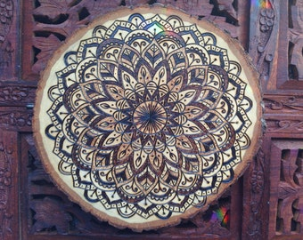 "7.5"" Wood Burned Mandala Slice - Handmade Wall Hanging, Sacred Geometry Art, Bohemian Wall Art"