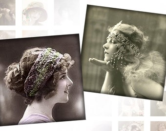 Victorian and edwardian Vintage ladies digital collage sheet 1x1 inches squares Vol. 2 (066) Buy 3 - get 1 free