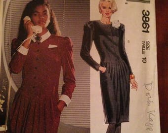 McCall's 3861 Pattern for women's  long sleeve dress, size 10, from 1980's