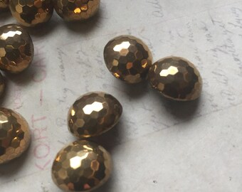 Vintage gold luster glass shank buttons