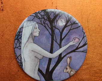 Hedgewitch Pocket Mirror,  Handbag Mirror, Spiritual Art, Spiritual Gifts, Goddess Gifts, Witch, Hare, Faery