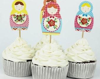 READY TO SHIP Matryoshka Party, Babushka Party, Russian Doll, Toppers, Picks, Cake Toppers, Cake Topper Pick, Cupcake Picks, Birthday, Baby