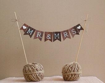 MR MRS Cake Banner – Wedding Cake Banner, Engagement Banner, Reception Banner, Wedding sign, Anniversary Banner, Wedding Photo prop.