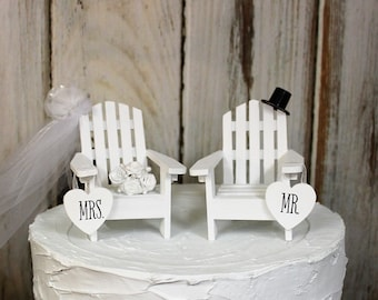 Beach Wedding Cake Topper, Adirondack Cake Topper, Beach Theme, Childs Adirondack Chair Cake Topper, His and Hers Cake Topper