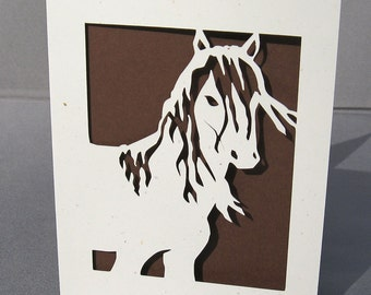 Cut Paper Mustang Horse Stallion Silhouette Art Greeting card