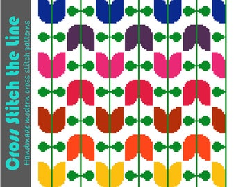 Modern cross stitch pattern of tulips on vines. Contemporary design. Retro embroidery chart in rainbow colours.
