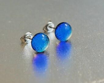 Blue glass stud earrings - glass post earrings- tiny stud earrings, surgical steel stud earrings, hypoallergenic earrings