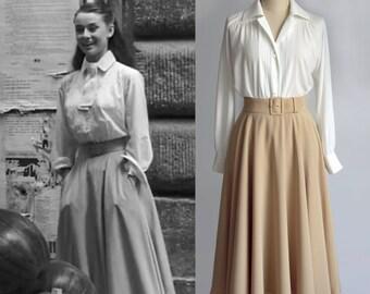 Vintage/ Audrey Hepburn/ Roman Holiday/ Skirt/ Circular Skirt/ 1950's/ Custom made skirt