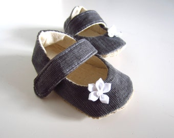 Chic Baby Grey Corduroy Mary Janes Soft Soled Baby Shoes ON SALE