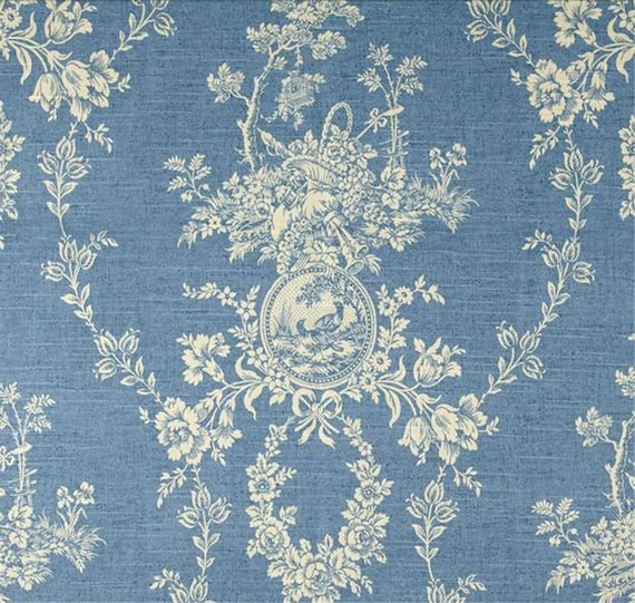 Waverly Country House Chambray Blue Cream Cameo Toile Home ...