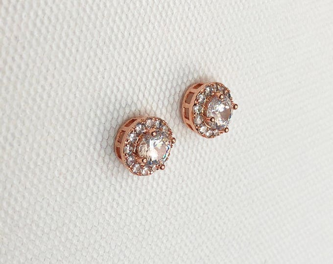 Rose Gold earrings, Small Wedding Earrings, Halo Crystal Stud Earrings, Rosegold earrings, bridesmaid earrings, crystal bridal earrings
