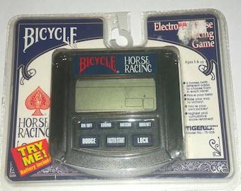 Vintage 90s HORSE RACING Electronic Game Handheld Video Game by Bicycle Geek Kentucky Derby Triple Crown Gambler Gift MINT Unused Dad Gift
