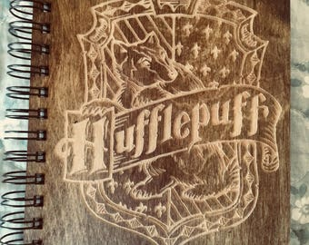 Harry Potter House Hufflepuff Etched Wooden Notebook