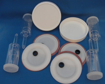 4 Fermenting lids, seals, airlocks,2 storage lids for use with WIDE mouth canning jars