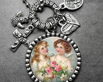 Sweet Little Angels Picture Pendant Holy Medal & Multi Charm Necklace, Catholic Jewelry, Catholic Gift, Confirmation Gift