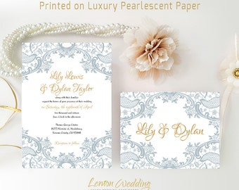 Wedding Invitations suite printed on luxury shimmer paper | Grey wedding invitation and RSVP postcard | Lace wedding invitations cheap