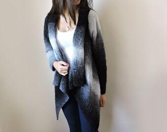 Plus size sweater Hand knit cardigan Womens sweaters Knit jacket Cardigans Women knit coat Long sweater coat Womens cardigan Black sweater