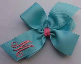 Aqua Initial, Hair Bows, Monogram Letter, Custom Boutique, Customized Girls, Gift Idea, Formal Script, Pink Easter, Baby Infant, Toddler