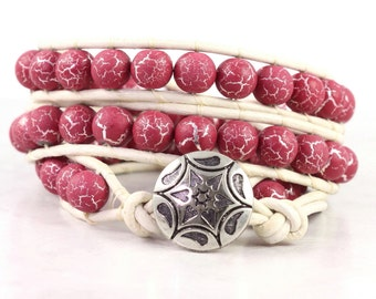 Leather Wrap Bracelet White Raspberry Pink Triple Wrap Silver Bohemian Fashion Dark PInk Fuchsia Distressed Leather Boho Wrap Bracelet