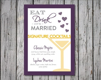 Modern Wedding Signature Drink Sign, 5x7, 8x10, Purple and Yellow, Pink and Mint, Printable Digital File, DIY, Custom Color