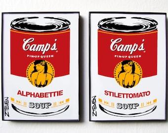 Bettie Page Pop Art Soup, original art, framed duo set by Zteven