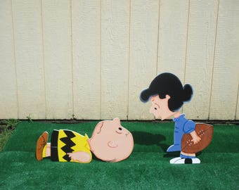Peanuts Charlie Brown and Lucy Football Yard Signs