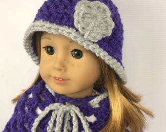 """18"""" doll poncho, 18"""" doll hat, doll clothes, doll back to school wear, purple and gray winter wear, free shipping"""
