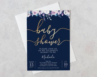 Baby Shower Invitation Floral Navy & Gold, Baby Shower Invitations Girl, Baby Shower Invitations, Printable Invitation