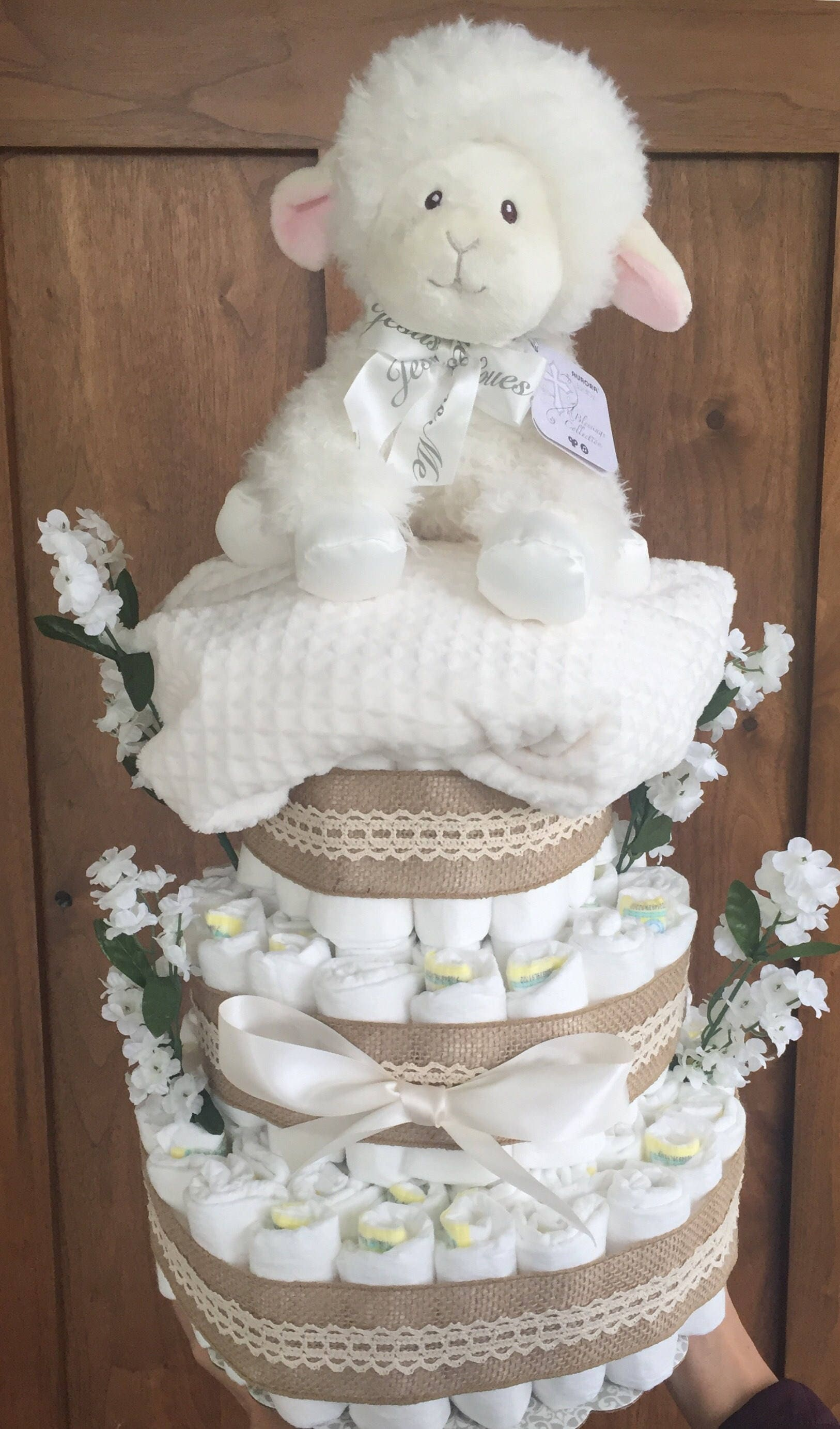 Burlap Lamb Baby Shower Decorations, Lamb Diaper Cake, Spring Diaper Cake, Burlap  Baby Shower Decor, Dreamy Lamb Sheep Baby Shower