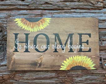 HOME Is where our story begins   Wood Signs   Farmhouse Sign   Housewarming Gift   Home Decor   Wall Decor   Wedding Gift   Mantel Decor