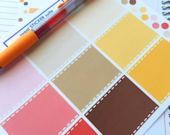 9 Full Boxes and 18 Dots- Red Brown and Yellow Linen boxes- perfect for your Erin Condren planner, wall calendar or scrapbooking project