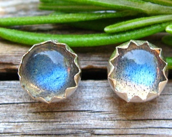 Labradorite Cabochon Studs, 14k Gold Stud Earrings or Sterling Silver Labradorite Studs - 4mm, 6mm Low Profile Serrated or Crown Earrings
