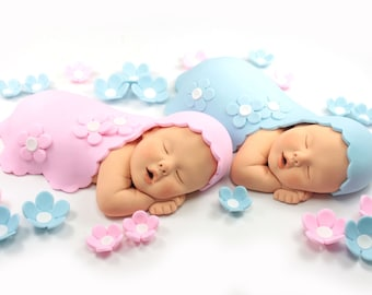 Sugar Paste Twin Baby Cake Toppers with Blue & Pink Blankets and Flowers for Baby Shower by lil sculpture